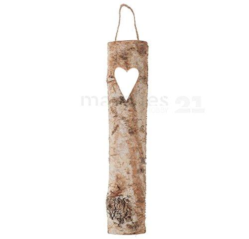 matches21 HOME & HOBBY berkenplank houten berkenschors schors schuurplank met hart voor opknoping decoratie plank 1 stuk 39 cm lang