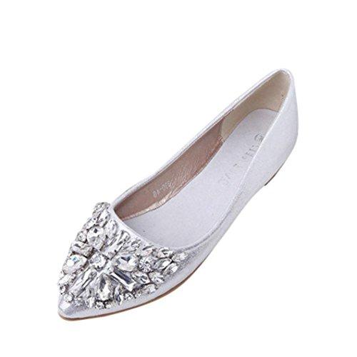 FNKDOR Damen Geschlossene Ballerinas Flache Pumps Strass Schuhe Klassische Damenschuhe(39,Silber)