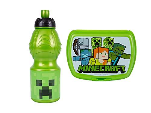 GOLDKIDS Minecraft broodtrommel voor kinderen, 18 x 13,5 x 6,5 cm, broodtrommel voor ontbijt, drinkfles, school, vrije…