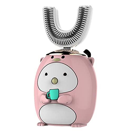 F Fityle Cepillo de dientes eléctrico inteligente de 360 ° para niños en forma de U, cepillo de dientes recargable de cinco modos, suministros de - Pingüino rosa