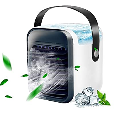 Amazon - Save 70%: Portable Air Cooler, Mini Handle Evaporative Personal Rechargeable Ai…