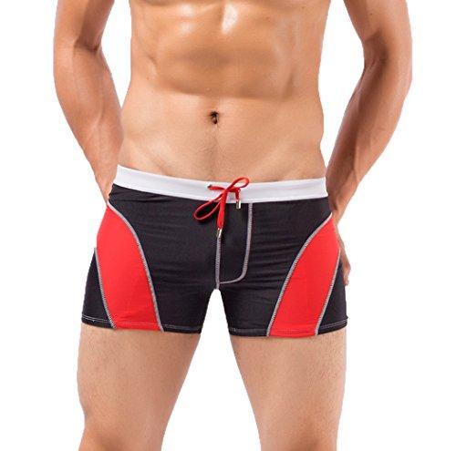 Koson-Man Mens Summer Beach Swimming Lace-up Briefs Trunks Sports Underwear (Black Size L)