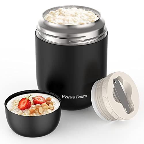 ValueTalks Termo para Alimentos 450ml Tarro de Comida Acero Inoxidable Aislado al Vacío Frasco con una Cuchara Plegable para Adultos Niños y Bebés(Negro)