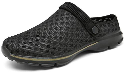 ChayChax Zuecos Mujer Hombre Zapatillas de Playa Respirable Sandalias Verano de Malla Ligeros Antideslizante Clogs Zapatos de Jardin, Negro, 36 EU