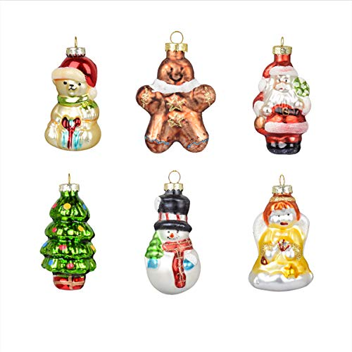 Generic Glass Painted Ornaments Hanging Baubles Hand Painted Pendants Glass Figurines Santa Claus, Snowman, Angel, Bear Hanging Christmas Ornaments Xmas Tree Decoration, Set of 6 (Combination 2)