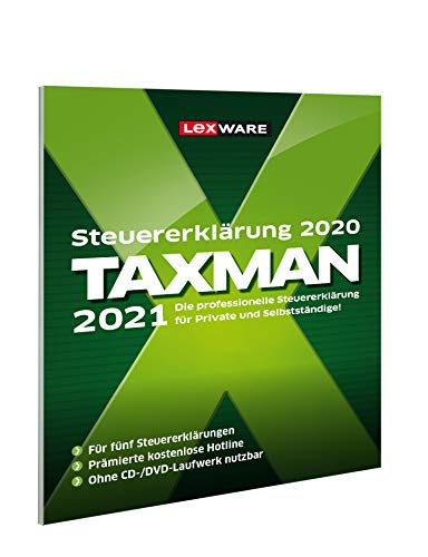 Lexware Taxman 2021 für das Steuerjahr 2020|in frustfreier Verpackung|Übersichtliche Steuererklärungs-Software für Arbeitnehmer, Familien, Studenten und im Ausland Beschäftigte|Standard|1 Jahr|PC|Disc