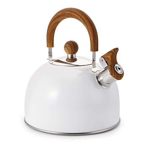 Cedilis Hervidor de té silbado, de acero inoxidable, color blanco, 2.64 cuartos