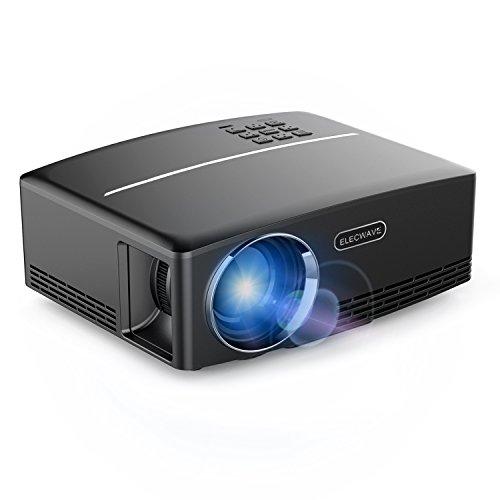 Elecwave ミニ LED プロジェクター 1080P  1500ルーメン  HDMI VGA オーディオ USBポート  オフィス 屋内用 ブラック
