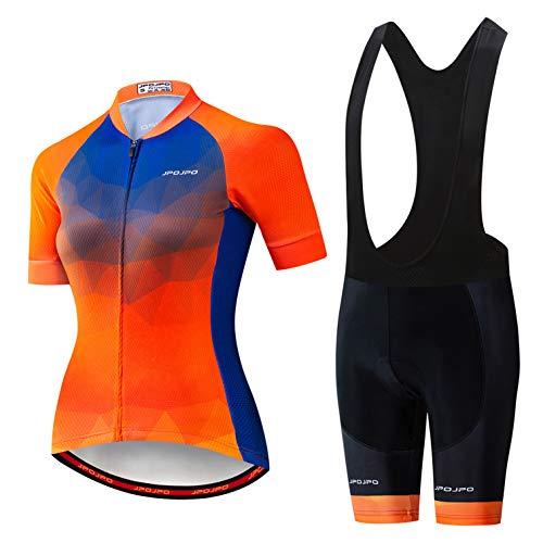 Cycling Jersey Set Women Bike Jersey bib Shorts Suit Padded Ladies MTB top Shirts Road Mountain Bicycle Clothing Short Sleeve Uniform Summer Racing Riding Blouse Female Orange XXL