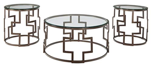 Signature Design by Ashley - Frostine Modern Round 3-Piece Occasional Table Set - Includes Cocktail Table & 2 End Tables, Dark Bronze Finish