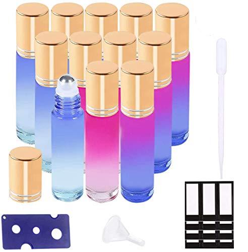 Ätherische Öle Roller Flaschen Multicolor Glasflaschen Edelstahl Roller Bällen 10ml mit für aromaöl und duftöl nachfüllbares 12 Stück (Trichter, Öffner, Etiketten, Plastik-Pipetten)