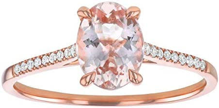 Olivia Paris Rose Gold Oval Morganite Engagement Ring with Side Diamond Accents product image