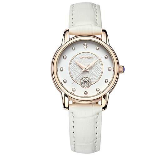 GLEMFOX dames kwartshorloges dames waterdichte horloges klassieke comfortabel leer dameshorloges prachtige verpakking Riemen. wit