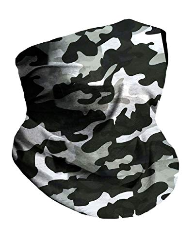 Into the AM Black Camo Neck Gaiter Face Scarf Mask Bandana Gator (Black)