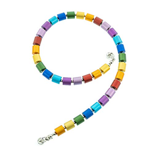 Leslii Damen Kette Lucy, Kurze Bunte Zylinder Halskette in Regenbogen Farben, Modeschmuck Collier mit Magnet Verschluss