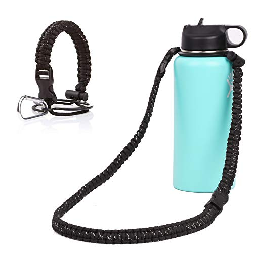 NANA Pracord Handle Carrier Holder with Shoulder Strap for Hydro Flask 12-64 oz Wide Mouth Water Bottles with Carabiner and Safety Ring Suitable for Hiking Walking Camping (Black)