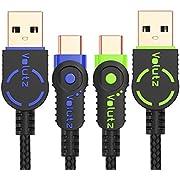 Volutz USB C Kabel – USB-C auf USB A Hi-Speed (2er Set, 2m) nylonummanteltes Schnellladekabel für Typ-C Geräte wie Samsung Galaxy S9, S9+, S8, S8 Plus A3/A5/A7 2017, MacBook Pro 2016 UVM.