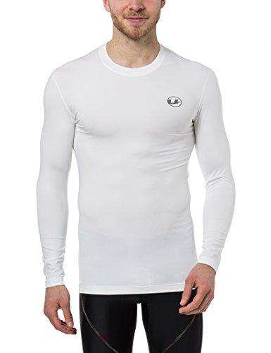 Ultrasport Herren Kompressionsshirt Ben, lang, Fitness Funktionsshirt, atmungsaktiv, Weiß, S