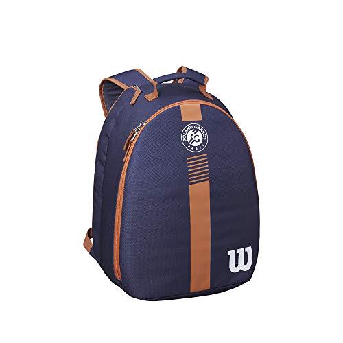 Wilson Mochila de tenis Roland Garros, Para niños y jóvenes, Para 2 raquetas, Azul marino/marrón/blanco, WR8007101001