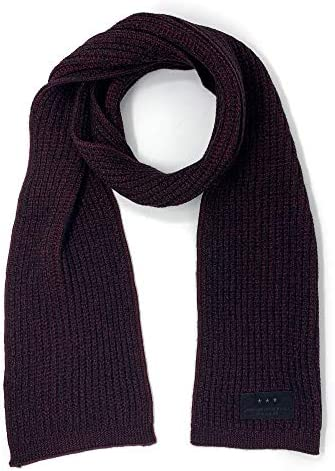 John Varvatos Star USA Men s Plated Ribbed Merino Wool Scarf Burgundy Black product image