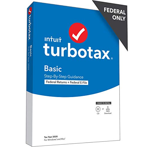 TurboTax Basic 2020 Desktop Tax Software, Federal Returns Only + Federal E-file [PC/Mac Disc]