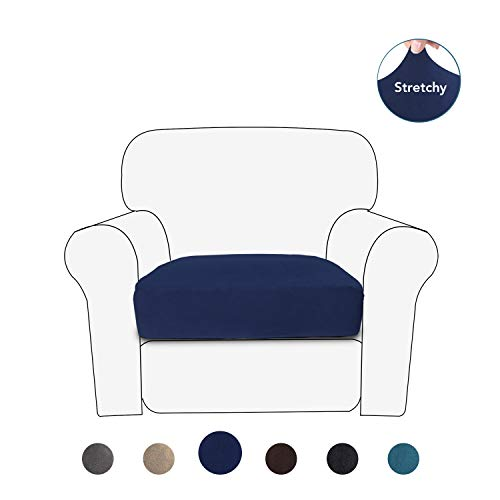 PureFit Stretch Velvet Non-Slip Sofa Couch Cushion Cover - Removable Sofa Seat Covers for Dogs, Washable Elastic Furniture Slipcovers Protector for Kids and Pets (Chair, Navy)