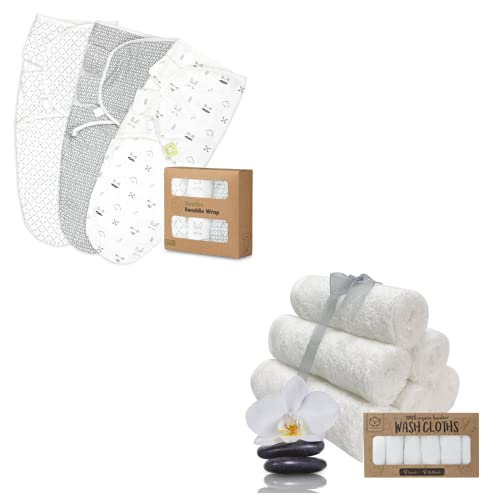 Organic Baby Swaddle Wrap Blankets and Baby Bamboo Washcloths Bundle - Baby Essential for Newborn - Ideal