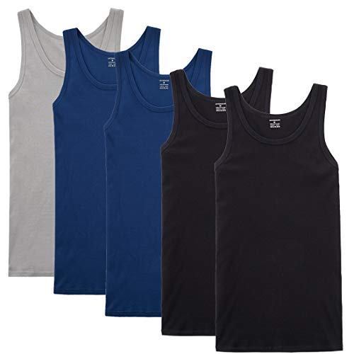 YOUCHAN Camiseta de Tirantes para Hombre Pack de 5 de Algodón 100% más Colores-Negro Azul Marino Gris-XL