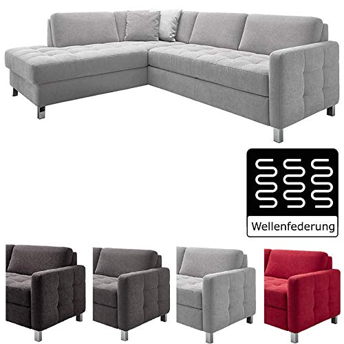 Cavadore Ecksofa Paolo mit gesteppter Sitzfläche / Hellgraues Sofa in L-Form im modernen Design / 233 x 80 x 196 / Hellgrau