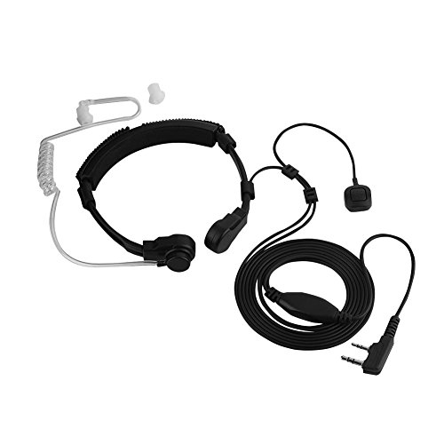 Garganta Micrófono Auricular Micrófono, Seguridad Transparente Auricular Audífono Tubo Auricular Dedo PTT Walkie Talkie Auriculares