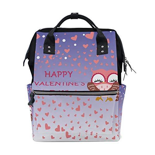 Sac à langer BkeOY Happy Valentine's Day Cute Owl Sac à langer multifonction pour maman maman papa Unisexe