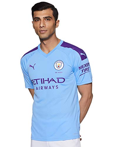 PUMA Herren Trikot MCFC Home Replica SS mit Sponsor Logo, Team Light Blue/Tillandsia Purple, XL, 755586