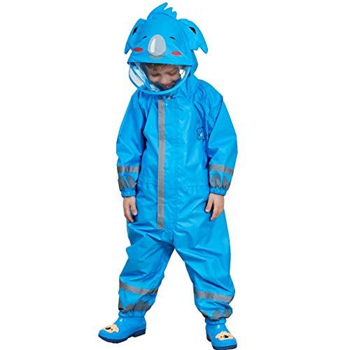 Majing Regenbekleidung- Einteiliger Atmungsaktiver Poncho Mit Kapuze Für Kinder, Jungen Und Mädchen, Kindergarten 3-10 Jahre, Regenmantel 100% Wasserdicht (Farbe: Blau) (Size : S)