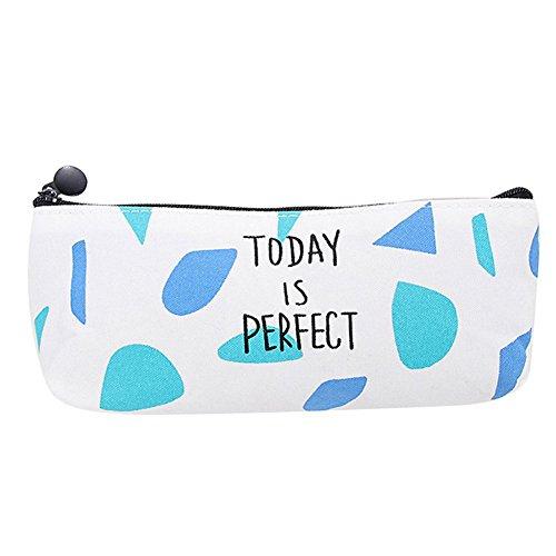 Lumanuby 1x Leinwand Federmäppchen mit Englisches Wort 'Today is Perfect' Stationäre Tasche Bleistift Cases Kosmetiktasche mit Reißverschluss, Mäppchen Serie