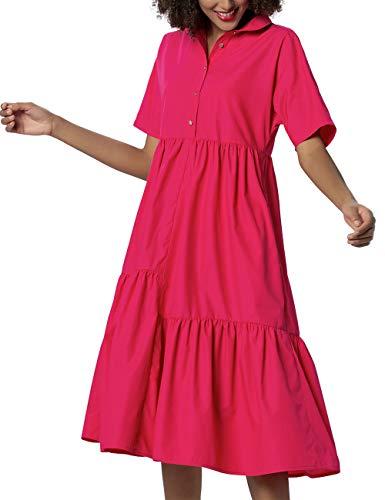 APART Damen Sommerkleid in Lockerem Schnitt, pink, 40
