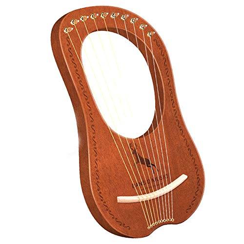 WHR-HARP Harfe, 10-Saitige Harfe, 10-Saitige Sattel-Mahagoni-Harfe Aus Metall Mit Stimmschlüssel und Schwarzer Performance-Tasche, Anfänger und Profis