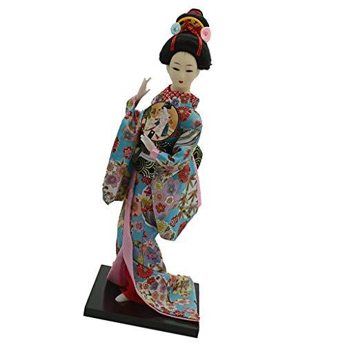 MagiDeal 12 Zoll Vintag Japanische Kimono Geisha Puppe Figur mit Kleidung Wohnkultur Dekofigur Handwerk - # 5