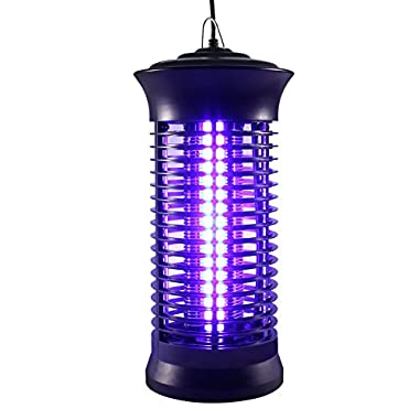 Ohuhu Insect Bug Zapper, Powerful Electric Flying Insect Killer with UV Light Trap, Indoor Outdoor Mosquito Fly Insect Catcher Killer,6W Trap Light with Hook, Black