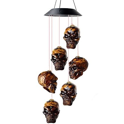 Solar-Rasenlampe, Wegbeleuchtung, Farbwechsel-Lampe, Totenkopf-Windspiel-Licht, Halloween-Gartendekoration