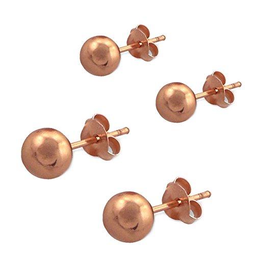 SL-Silver, set di 2 paia di orecchini a sfera da 4mm e 6mm, in argento 925 placcato oro rosa, in confezione regalo