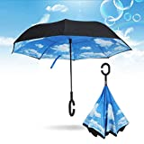 Ombrello a doppio strato rovesciato con manico a C rovesciato a testa in giù, ombrello pieghevole con manico a C, colore: celeste