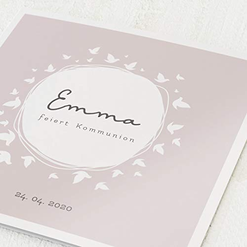 Einladungskarten zur Kommunion, Tauben, Einladung 5er Klappkarten-Set quadratisch, personalisiert mit Wunschtext & persönlichen Bildern, wahlweise mit passenden Umschlägen im gleichen Design