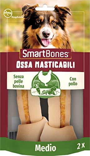 SmartBones Ossa masticabili Medio Pollo - Ossa da masticare Medium senza pelle bovina, 2 pezzi