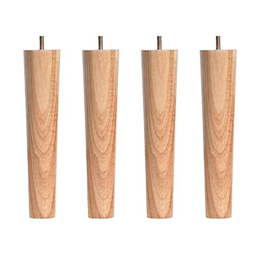 DRYEN Juego de 4 patas de sofá de madera, redondas, de repuesto, para sillas, armarios, aparadores modernos o proyectos de bricolaje para moños