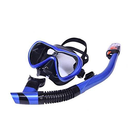 Tauchausrüstung Wassersport Im Freien Tauchermaske Brille Schnorchel Schwimmen Full Dry Schnorchel Anzug Silikon Stroh (Farbe: Dunkelblau, Größe: Adult) ANGANG