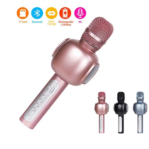 Drahtlos Mikrofon,Bluetooth Karaoke Mikrofon,Portable Handmikrofon Lautsprecher Player Mikrofon -Stereo Player für Musik spielen KTV, Party,Lautsprecher für PC, iPhone,und Android/IOS Smartphon