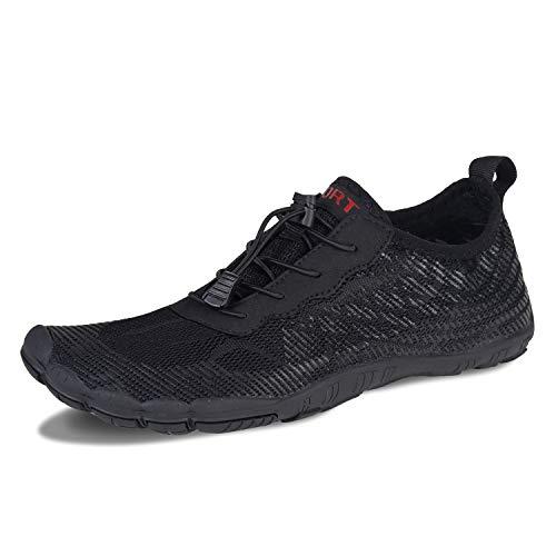 Herren Damen Outdoor Fitnessschuhe Barfußschuhe Trekking Schuhe Badeschuhe Schnell Trocknend rutschfest(Schwarz,6.5 UK,40 EU)