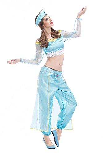 xiemushop Disfraz de Princesa Jasmine Arabe para Mujer Cosplay Halloween Carnaval Traje de la Danza Vientre Talla S
