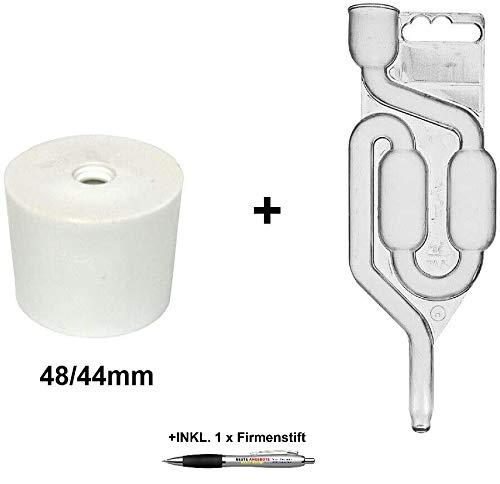 Beste Angebote Gummistopfen + Gärrohr Gummikorken Gärspund Gärverschluss Stopfen Gäraufsatz (48/44mm)