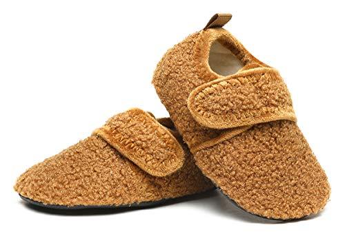 SLEVEL Toddler Boys Girls Non Slip House Slippers Little Kids Lightweight Winter Warm Indoor Home Shoes(S191006Brown25)